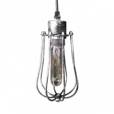 1 Light Caged Ceiling Light Length Adjustable Metal Antique Hanging Lamp with 39