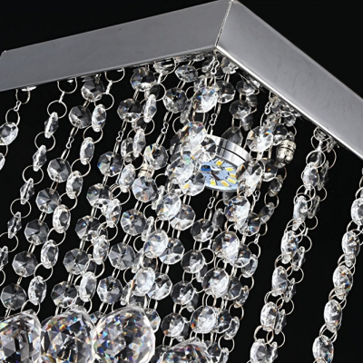 1 Light Rectangular Ceiling Light Modern Clear Crystal Chandelier in Nickel
