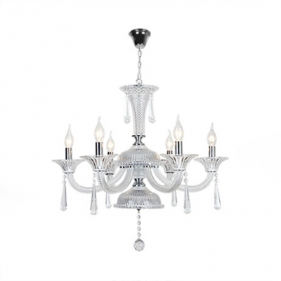 Modern Chrome Chandelier with Candle 6/8 Lights Clear Crystal Hanging Chandelier