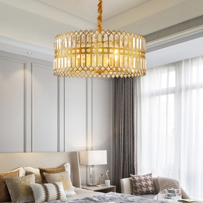 Adjustable Round Chandelier for Bedroom 3/4 Lights Modernism Pendant Lighting with Clear Crystal in Gold