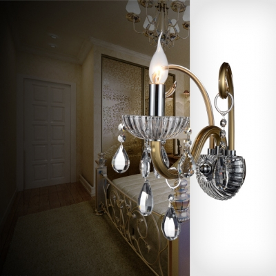 Antique Style Sconce Lighting 1/2 Lights Glass Wall Mounted Light Fixture with Clear Crystal Decoration
