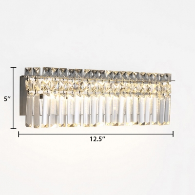 Bedroom Rectangular Wall Light Fixture Clear Crystal Vintage Style Sconce Lighting, White/Warm