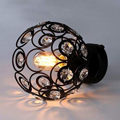 Black/White Globe Ceiling Lighting 1 Light Modern Style Metal Semi Flush Light with Clear Crystal for Bedroom
