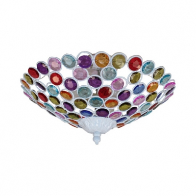 Bowl Restaurant Ceiling Light with Colorful Crystal 3/5 Bulbs Semi Flush Light in Bronze/Brass/White