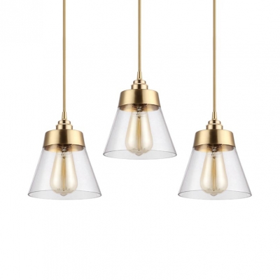 "Clear Glass Tapered Hanging Ceiling Lamp 1 Light Modernism Pendant Light in Brass, 6"" W, HL515477"