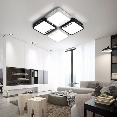 Contemporary Led Light Fixtures With Square Rectangle Acrylic Flush