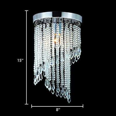 Contemporary Spiral Chandelier 1 Light Clear Crystal Flush Mount Light in Polished Chrome