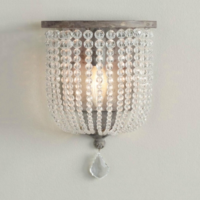 Crystal Wall Mounted Lighting Single Light Antique Style Sconce Light, L:8in W:4.5in H:10in