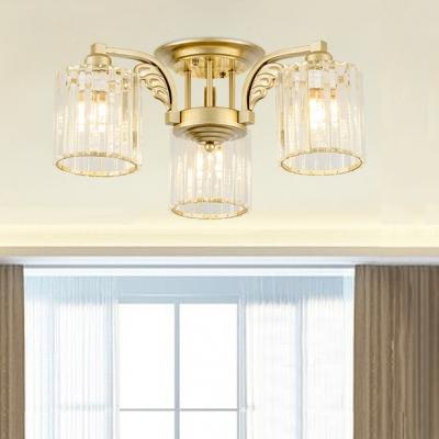Cylinder Living Room Semi-flush Mount Lighting Metal 3/9/12 Lights Modern Flush Light in Champagne Silver