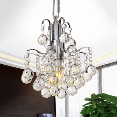 Dining Room Chandelier Clear Crystal 1 Light Contemporary Adjustable Light Fixtures in Polished Chrome