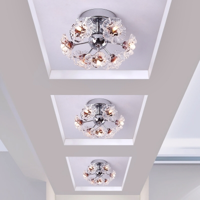 Floral Ceiling Light Clear/Purple Crystal Modern 7-LED Semi Flush Light for Foyer