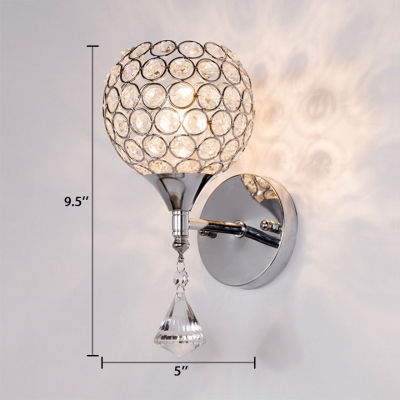 Global Sconce Light for House 1-Light Contemporary Style Clear Crystal Wall Mount Lighting, 9.5