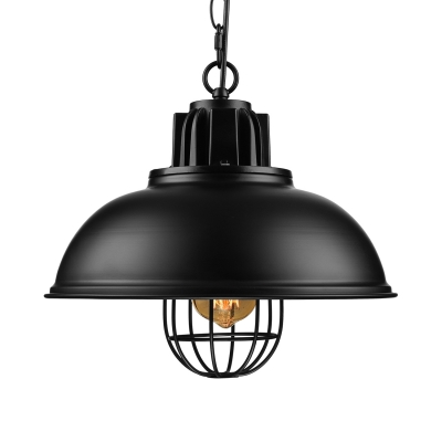 Industrial Bowl Shade Pendant Light in Black for Dining Room Kitchen Island