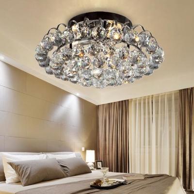 Living Room Ceiling Lighting Clear Crystal Ball Vintage Style Semi Flush Mount Light, 8.5