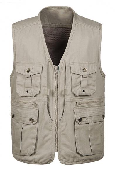 Men's New Stylish V-Neck Zip Up Sleeveless Multi-Pocket Outdoor Jacket Vest