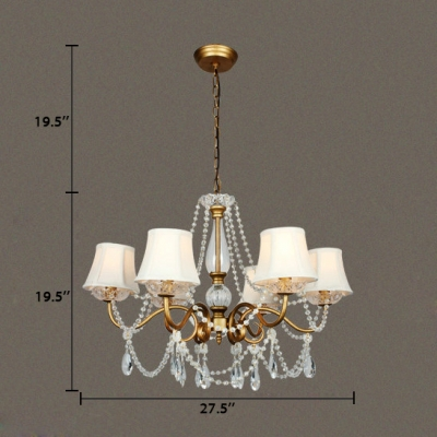 Modern Gold Chandelier with Tapered Shape 5/6 Lights Metal Pendant Light with Clear Crystal
