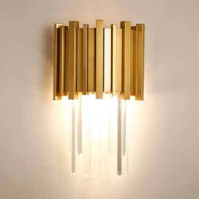 Modern Sconce Light 1 Light Metal Sconce Light with Clear Crystal in Gold for Bedroom