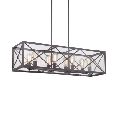 Rustic Rectangle Island Light Fixtures Metal 8 Lights Black Island Pendants with Rod for Dining Room, HL511265