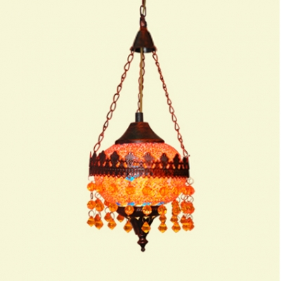 Rustic Rust Pendant Light Fixture with Orb 1/3 Lights Metal Hanging Lighting with Pink and Yellow Crystal for Living Room