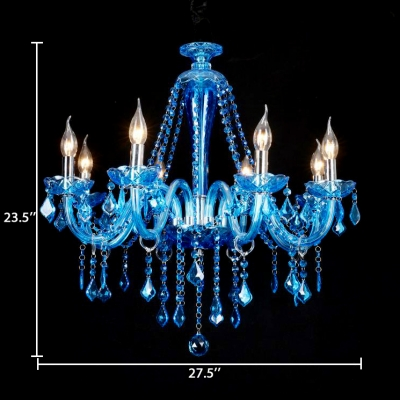 Traditional Candle Hanging Pendant 6/8/18 Lights Clear Crystal Chandelier with 12