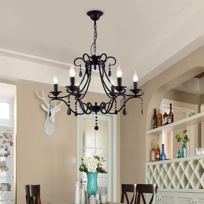 Vintage Candle Chandelier with Black Crystal 6 Lights Metal Hanging Lamp for Living Room