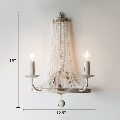 2/3 Lights Candle Sconce Lighting with Clear Crystal Vintage Style Metal Wall Mounted Light in Distressed White
