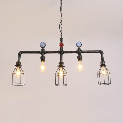 5 Lights Cage Island Light Fixtures Industrial Metal Ceiling Light with 39