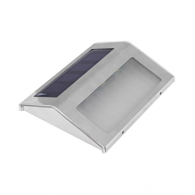 Solar Powered Wall Lights Outdoor 3 LED Stainless Steel Motion Sensor Step Lights in White/Warm