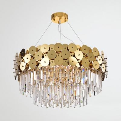 Modern Drum Chandelier with Clear Crystal Metal 8/12/20 Lights Brass Chandelier Light for Living Room
