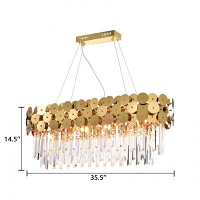 Modern Brass Chandelier with Rectangle and Clear Crystal 6/8 Lights Metal Chandelier Light