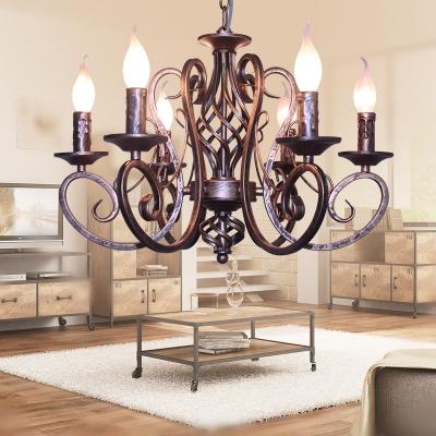 6/8 Lights Candle Chandelier Antique Metal Hanging Pendant in Black/White/Blue/Bronze