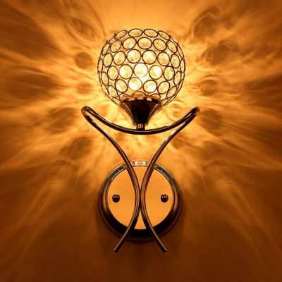 Bedroom Globe Shade Wall Mount Light Fixture Clear Crystal Modern Style Sconce Lighting