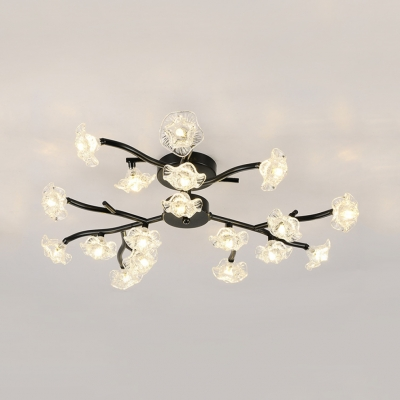 Branch Semi Flush Mount With Clear