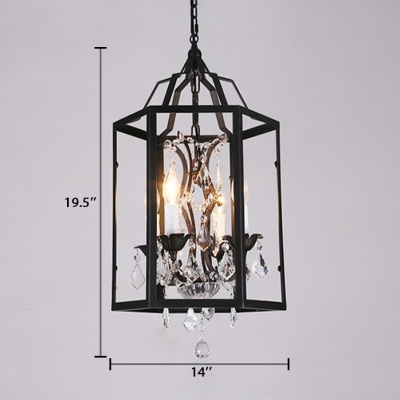 Caged Pendant Lighting Foyer 4 Lights Classic Hanging Chandelier with Adjustable Cord in Black
