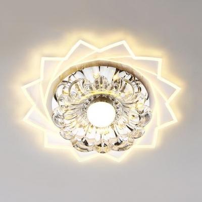 Clear Crystal Flower Flush Mount Light Modern Ceiling Lamp In White