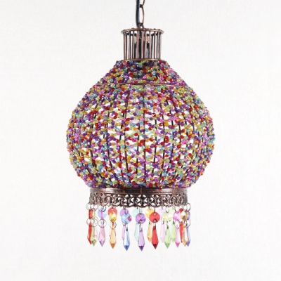 Colorful Lantern Pendant Lamp Single Light Vintage Crystal Pendant Lighting for Bedroom