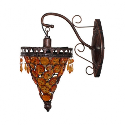 Crystal Sconce Light Single Light Antique Wall Light Fixture in Dark Brown/Light Brown/Blue for Dining Room
