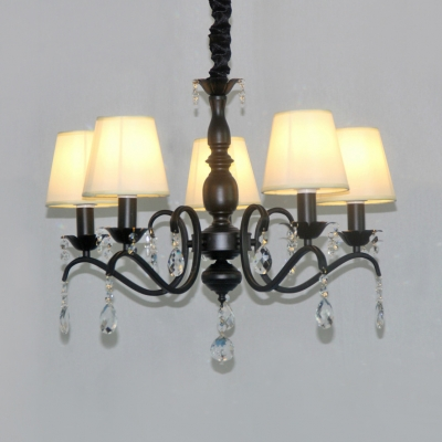 Fabric Tapered Shade Chandelier Light with Clear Crystal 3/5/6 Lights Classic Pendant Light in Black