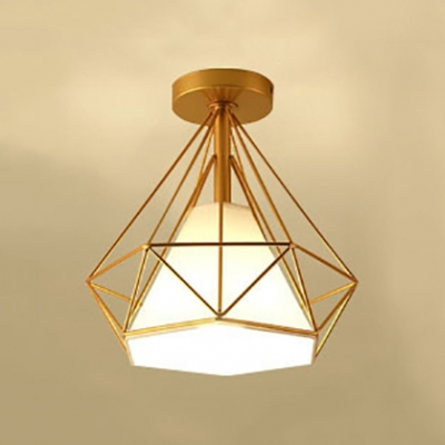 Gold Diamond Semi Flush Mount with Fabric Shade Modern Lighting Fixture for Hallway