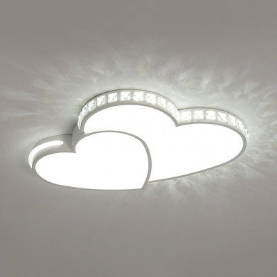 Heart Shape Ceiling Lamp with Clear Crystal Modern Acrylic LED Flush Light in White/Warm for Foyer