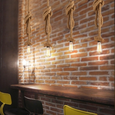 Hemp Rope Single Pendant Light in Black Bare Bulb Ceiling Pendant for Cafe Bar Counter Farmhouse