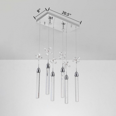 Kitchen Pendant Light Chrome, 3/6 Lights Clear Crystal Cylinder Pendant Light with Adjustable Hanging Cord Contemporary
