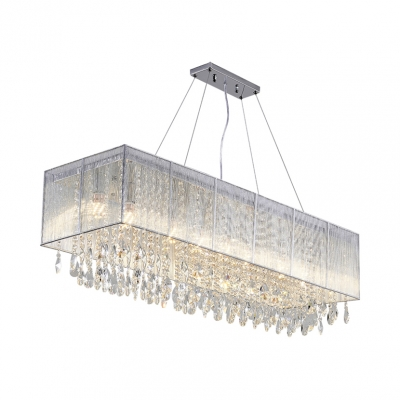 Linear Chandelier with Clear Crystal Decoration Luxury 5 Lights Pendant Light for Dining Table