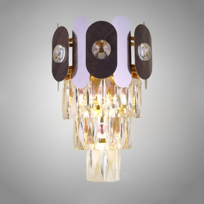 Living Room Wall Sconce Metal Modern Brass Wall Lamp with Clear Crystal for Bedroom