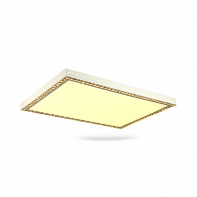 Modern Rectangle LED Flush Mount Light Acrylic White Ceiling Lamp with Clear Crystal Decoration for Bedroom