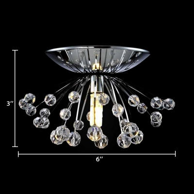 Modern Style Semi Flush Mount Light Single Light Chrome Ceiling Lighting for Kitchen with Clear Crystal Balls Decoration