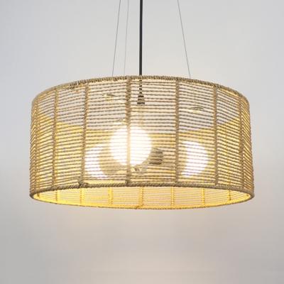 Rattan Drum Chandelier 1/3 Lights Rustic Lodge Outdoor Pendant Lighting