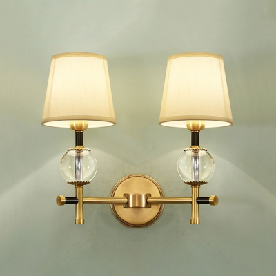 Tapered Living Room Sconce Light Metal 1/2 Lights Traditional Wall Lamp with Clear Crystal in Brass