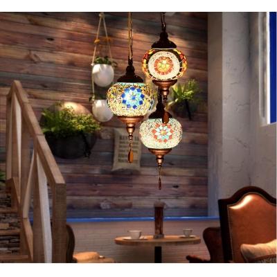 Traditional Globe Hanging Lamp Mosaic Single Light Pendant Lighting for Living Room