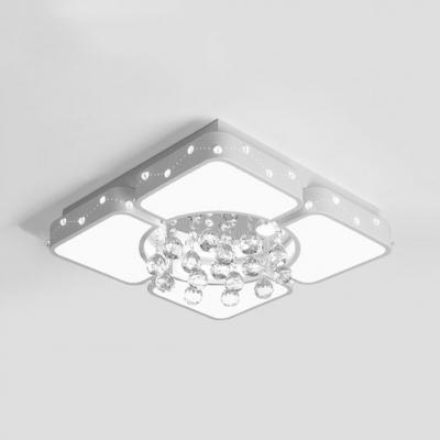 White Square Flush Light Contemporary Acrylic Ceiling Flush Mount Light for Living Room